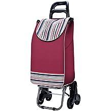 Ali Lamps@ Carrito de compra carrito de mano Carro de compras carrito de dos colores opcional Subir las escaleras Carro de equipaje Plegable Carro de seis ruedas Vehículo de palanca Remolque pequeño Con bolsa de tela Carga 25 kg ( Color : #1 )