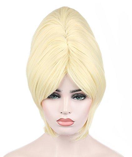 Kalyss Damen Blond Strähne Bienenstock Perücke Pin Up Frankie Perücke Wig für Fasching Karneval Cosplay Halloween Kostüm (Pinup Halloween)
