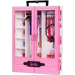 Barbie Fashionistas Le Dressing de Rêve rose à la taille de la poupée, transportable et fourni avec cintres, jouet pour Enfant, GBK11