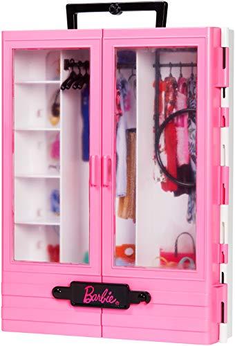 Barbie- armadio fashionistas rosa con accessori, bambola non inclusa, giocattolo per bambini 3+ anni, gbk11