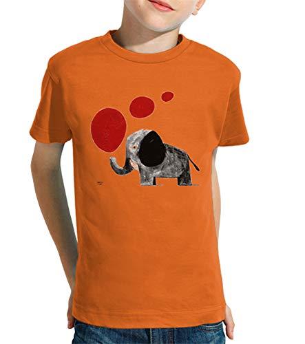 latostadora - Camiseta Elefante para Nino y Nina Naranja XS