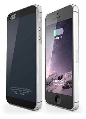 Rhidon iPhone 5S Hülle, Wireless Qi Ladegerät Wireless Charger Frequency Flexibles Lightning Stecker für iPhone 5/5S/SE (Grau)
