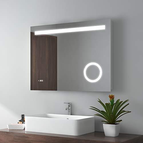 LED Badspiegel 80x60cm Beleuchtung Badezimmerspiegel Wandspiegel mit 3-Fach Vergrößerung, Sensor-Schalter, Uhr