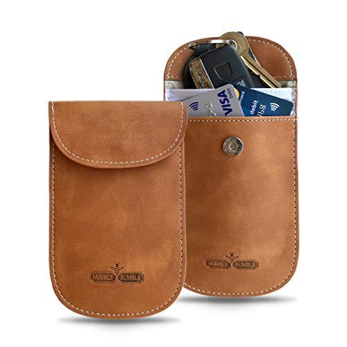 Signalblocker aus reinem Leder für Autos | Ein Pack | Faraday, der den schlüssellosen Zugang blockiert RFID-NFC blockieren | Kreditkartenschutz, Geldbörse, Diebstahlschutz