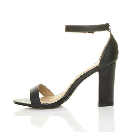 Donna tacco alto blocco fibbia scarpe punta aperta sandali con cinturino taglia Nero opaco