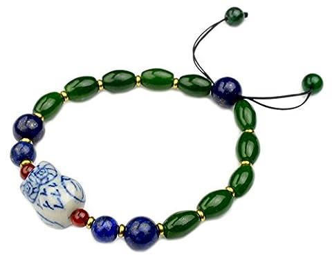 Élégante porcelaine Hibou vert jade Amulette Bracelet -Fortune bouddhiste Bijoux