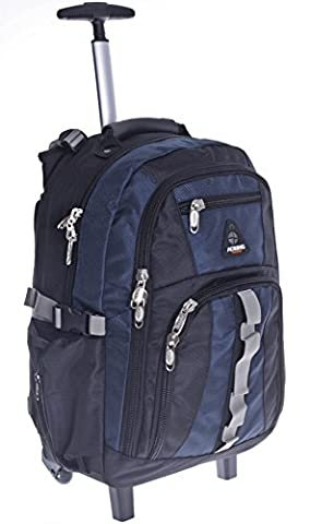 Schulranzen Schultrolley Rucksack Schulrucksack Trolley Rucksack mit Rollen Ranzen Schultasche Reise Schule (Blau)
