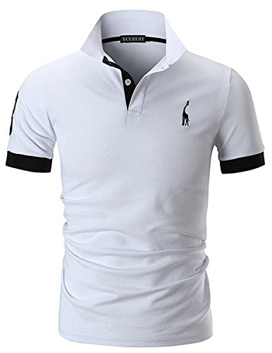 YCUEUST Hommes Cotton 3 Impression Manche Mode Polo Casual Giraffe Tennis T-Shirt Blanc L