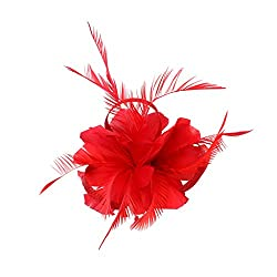 Phenovo Vintage Woman Feather Fascinator Hair Clip for 20s Great Gatsby Charleston Party Tea Party - red