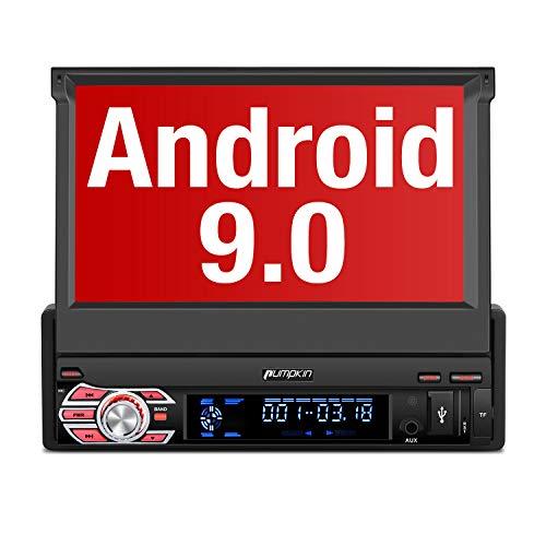 "Pumpkin Android 9.0 Autoradio 1 DIN Radio para Coche soporta GPS Navegador, Bluetooth, Subwoofer, Mirror-Link, Control Volante, WiFi, USB, SD, con 7"" Pantalla Táctil"