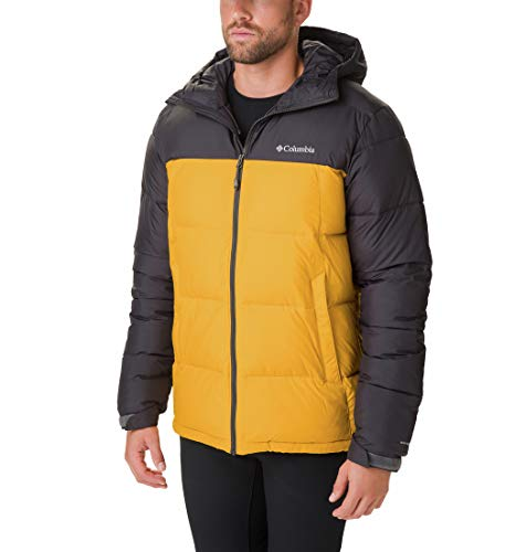 Columbia Pike Lake Chaqueta de plumón con Capucha, Hombre, Amarillo Golden Yellow/Shark, L