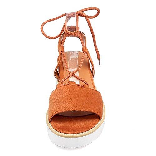 COOLCEPT Femmes Mode Lacets Des Sandals Talons Compenses Cut Out Peep Toe Slingback Chaussures Orange