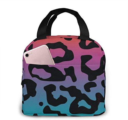 SDFSDF Lunchpaket, Isolierte Lunchbox, Colorful Leopard Print Portable Insulated Lunch Bag Waterproof Lunch Handbag Food Zipper Storage Lunch Box Keep Warm 4H with Front Pocket