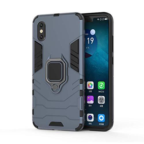 Funda Xiaomi Mi 8 Pro Carcasa Silicona Suave Negro TPU y Duro PC Case Anti-Arañazos, Anti-Golpes, con Anillo Grip Kickstand y Soporte de la función de Montaje teléfono Case (Mi 8 Pro, Azul)