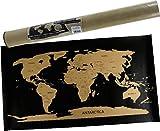 MC Weltkarte zum Rubbeln in schwarz Gold 45 x 80 cm Landkarte Länder Urlaub Abenteuer