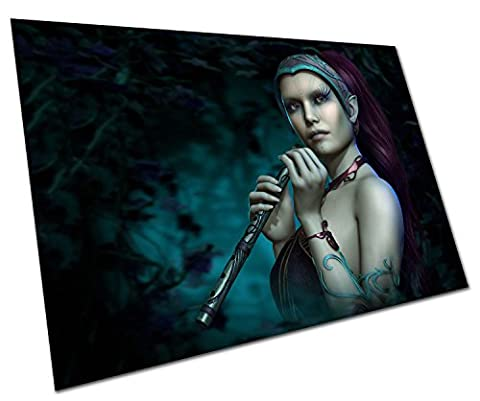 BLUE FAIRY WITH FLUTE WALL ART LARGE A1 POSTER 33 X 23 INCH