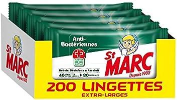 St Marc Lingettes Désinfectantes Antibacteriennes - 40 lingettes x Lot de 5 (Total 200 unités)