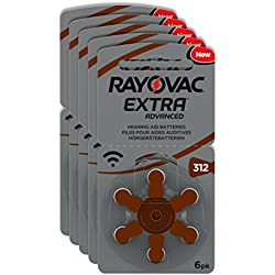 Rayovac Piles - Extra Advanced zinc-air pour aides auditives, code couleur brun, taille 312, lot de 30 piles