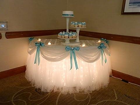 Wedding TUTU Tulle Table Skirt Birthday Baby Shower Tableware Ballerina Decor (White)