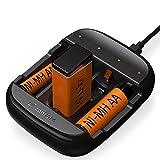 Zanflare Cargador de Pilas C4A, Cargador de Batería Universal Rápido USB, Cargador Inteligente...