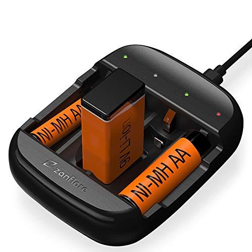 Zanflare Cargador de Pilas C4A, Cargador de Batería Universal Rápido USB, Cargador Inteligente para Baterías...