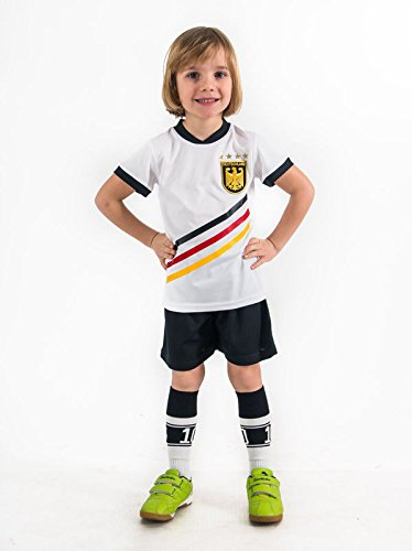 Weihnachtsgeschenk Geschenk Fußball Trikotset Trikot Kinder 4 Sterne Deutschland WUNSCHNAME Nummer Geschenk Größe 98-170 T-Shirt Weltmeister 2014 Fanartikel WM EM (128) (Fußball-kinder-t-shirt)