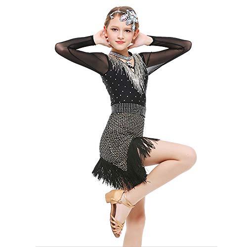 Children's wear Kinder Tanz Kostüme, Strass Quaste Langarm Latin Rumba Übungsanzug, geeignet für Bühnenperformance/Wettkampf/National Standard Dance Test (120-170cm) ZDDAB -