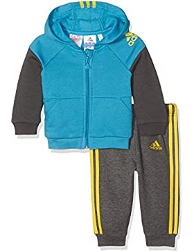 Adidas I Sp Fz Hd Jogg – Tuta Sportiva Bambino, colore Blu/Grigio/Giallo (Azuart/Grpudg/Eqtama), 3-4 anni