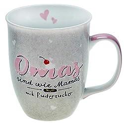 Happy Life 46125 Tasse mit Spruch Omas sind wie Mamas nur mit Puderzucker, Grau, Rosa