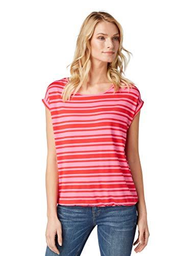 TOM TAILOR für Frauen T-Shirts/Tops T-Shirt mit Allover-Muster pink Stripe, XL