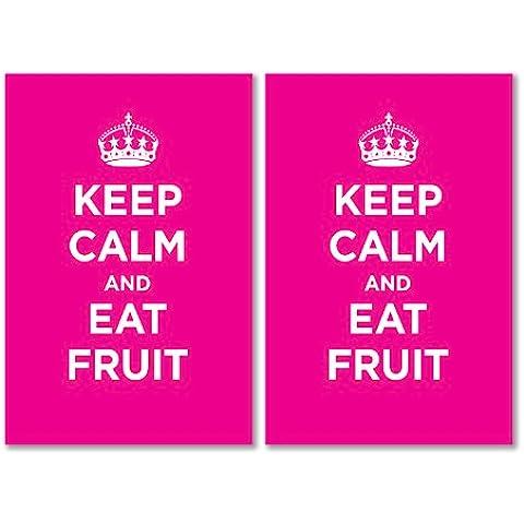 Confezione di Adesivi in Vinile lucido: Keep Calm mangiare frutta Rosy Rosa WW2WWII parodia cartello (2adesivi, 10x 15/5,9x 3.9in)