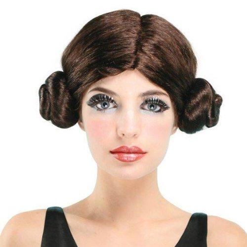 Damen Space Star Wars Prinzessin Leia Stoffpuppe Brötchen Fancy Kleid Kostüm Perücke bw075BNVT