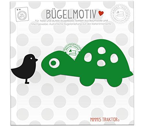 Bügelbild Schildkröte + Vogel 11 x 5,7 cm GRÜN SCHWARZ