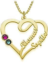 f5067657b45d Bokning Collar de nombres personalizados de joyería por encargo con el  regalo pendiente del corazón para