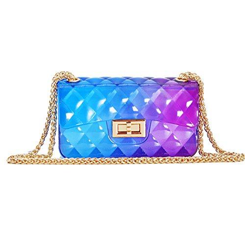 GSHGA 2018 Sommer Gradient Jelly Bag Lingge Mini Kette Tasche Handtasche Baguettes Totes Top-Griff Taschen Schultertaschen - Leopard Mini Tote