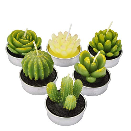 LA BELLEFÉE - Velas Cactus, Vela suculenta Plantas Verdes para Decoraciones Navidad casa favores de cumpleaños Fiestas de Boda - 6 Piezas