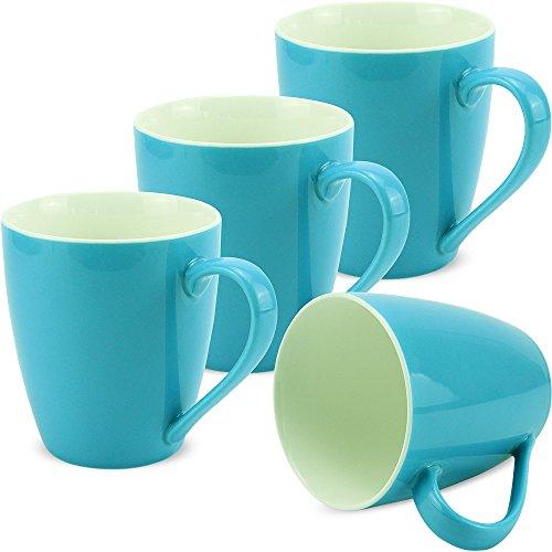 matches21 Tassen Becher Kaffeetassen Kaffeebecher Unifarben / einfarbig hellblau blau Porzellan 4...