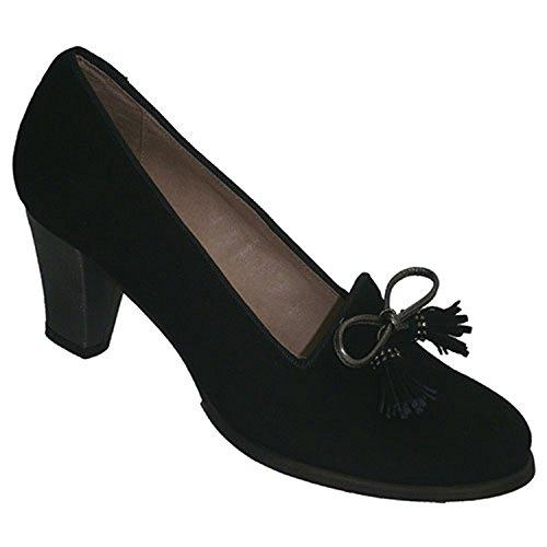 Wildleder Schuhe mit hohen Absätzen mit Spitzenbesatz Roldán schwarz Schwarz