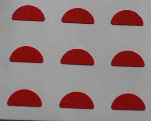 150 Etiquetas, 10x5mm Half Moon Forma, Rojo, pegatinas autoadhesivas, Minilabel Formas