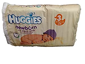 Huggies Newborn with Organic Cotton Nappies Size 3 - 54 Nappies - 4-9kg (9-20lb)