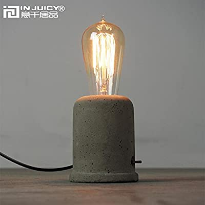 Injuicy Lighting Loft Vintage Industrial Edison Cement Desk Accent Lamps Retro E27 Led Concrete Table Lights for Night Bedside Dining Room Home Bedroom Bar Cafe Living Room Decor produced by Injuicy - quick delivery from UK.