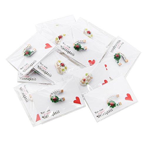 20 Gastgeschenke mit Glücksstein Viel Glück + Grußkarte Herz: Kleeblatt Glücksbringer Glückspilz und Hufeisen…