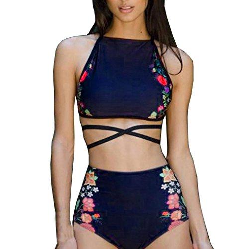 Bekleidung Damen Bikini,TWBB Sexy Bikini Set Bademode Push-Up gepolsterter Print BH Badeanzug Beachwear Bikini mit hoher Taille Druck bikini Zweiteiliger Badeanzug (M, Blau) (Mollige Sexy Jeans)