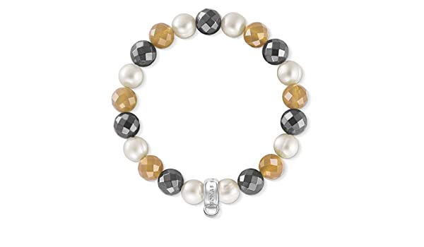 X0196-666-7 Thomas Sabo Agate /& Hematite Charm Bracelet