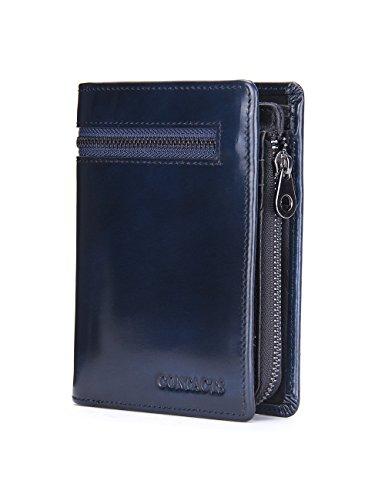 HIRAM@Echtes Leder Bifold Kartenhalter Reißverschluss Münzen Tasche Geldbörse Kurzes Geldbörse Rot Braun (braun) schwarz