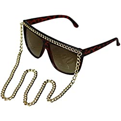 FashionLDNDamen Sonnenbrille Brown Print - Gold Chain