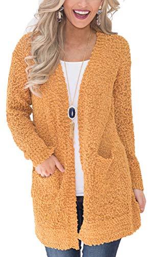ECOWISH Damen Casual Lang Strickjacke Einfarbig Langarm Cardigan Outwear Lose Coat mit Taschen151Gelb L
