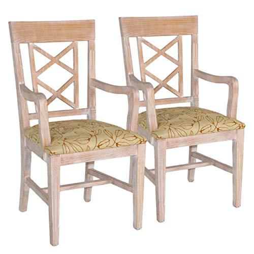 casamia Esszimmer Stuhl-Set mit Armlehnen 2 Stück mit Festpolster Adrian Cognac Pinie massiv Natur