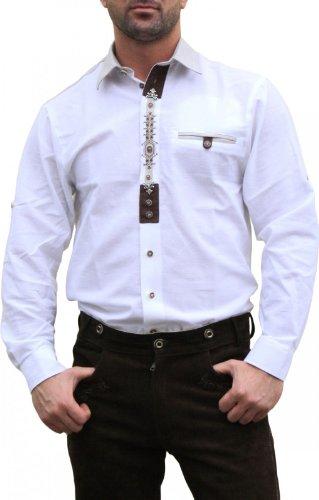 Trachtenhemd für Trachten Lederhosen mit Verzierung Trachtenmode wiesn weiß , Hemdgröße:M