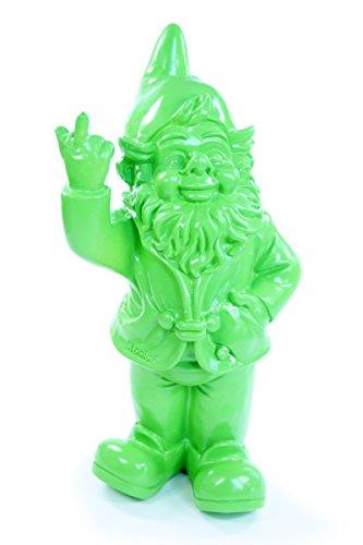 Happy Gifts Gartenzwerg, Deko-Figur frecher Gartenzwerg zeigt Stinkefinger aus Kunstharz für Garten und Haus (Grün)